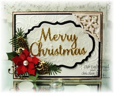 Our Daily Bread Designs, Peaceful Poinsettia, Merry Mosaics, Fancy Ornament, Vintage Flourished Pattern, PineCones, Love Leaves, Vintage Labels, Flourished Star Pattern, Merry Christmas dies, designed by Chris Olsen