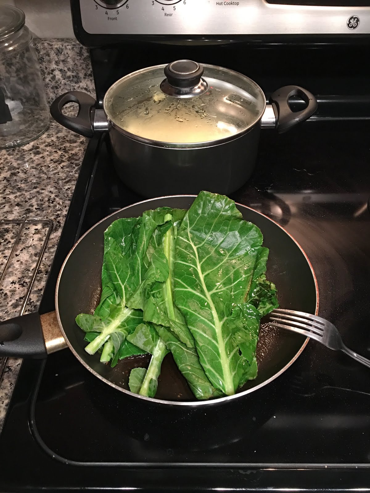 Blue apron yellow grits - After That I Saut Ed The Collard Greens In Olive Oil With Minced Fresh Garlic Some Sea Salt And Black Pepper