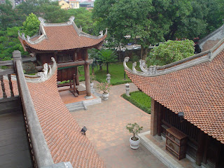 Aerial view of the Temple of Literature in Hanoi (Vietnam). Van Mieu (Văn Miếu)