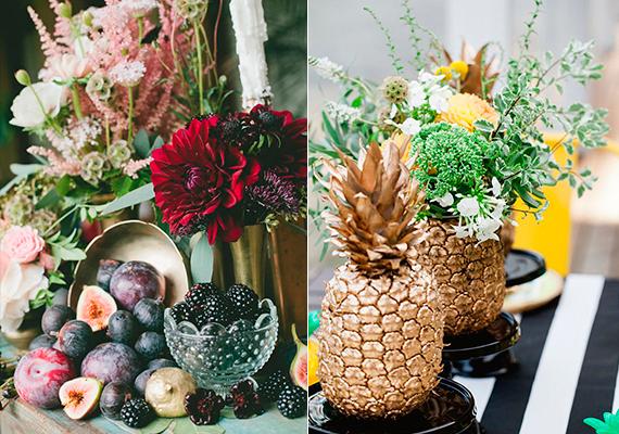 mesa decorada com frutas diversas, figo e abacaxi