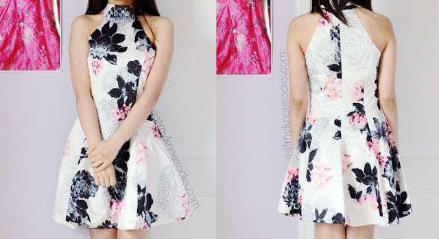 Front and back views of the halterneck floral dress from Romwe, a cute summer fashion pick.