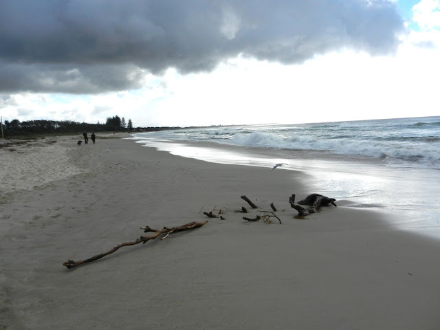 Byron Main Beach on a cloudy winter's day