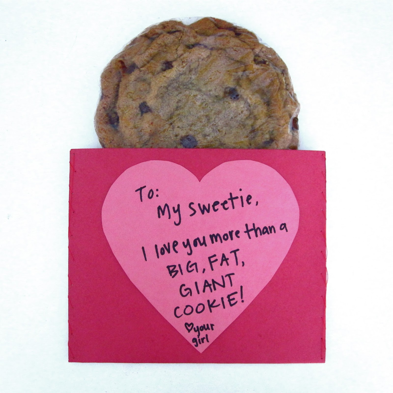 Giant Single Serving Cookie Gift In A Custom DIY Valentineu0027s Day Pouch