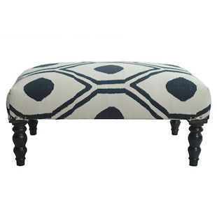 Overstock nuLOOM Contemporary Blue Trellis Cotton Ottoman Bench
