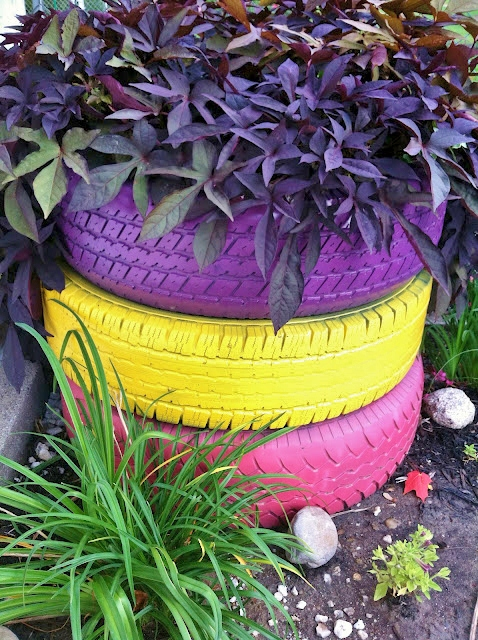 Sister see sister do painted tire planter - Painted tires for gardens ...
