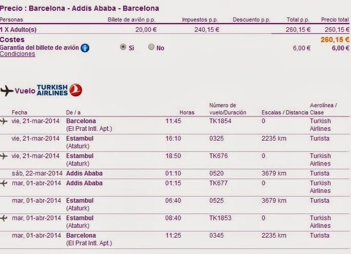 Vuelos desde Barcelona a Etiopia