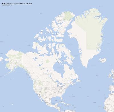 Mapa fisico-politico de Norteamerica, (mapa grande)