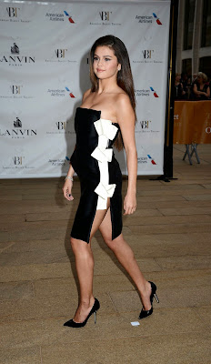 Selena Gomez in strapless black and white Lanvin dress