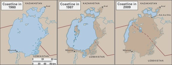 Aral Sea shorelines 1960-2009.