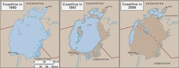 Aral Sea shorelines 1960-2009.