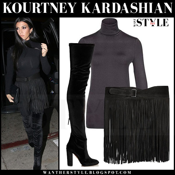 Kourtney Kardashian in black wolford turtleneck, black fringed mini skirt and black velvet boots aquazzura what she wore