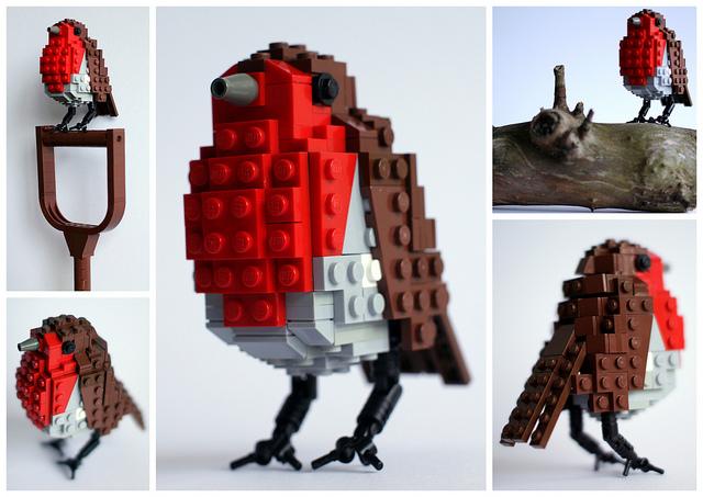 pajaros de Lego. Petirrojo. Robin Red Breast