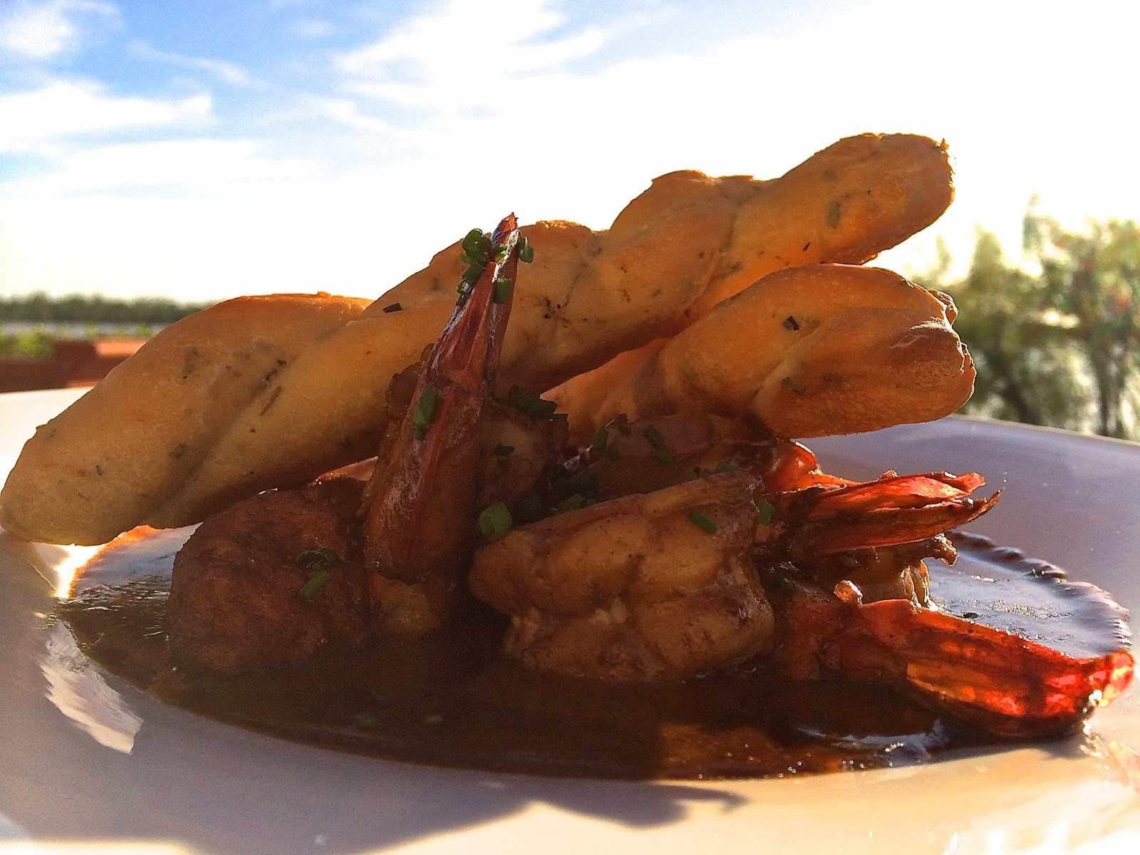 Wood Grilled BBQ Shrimp with Lobster Dumplings and Rustic Stone Focaccia Breadsticks