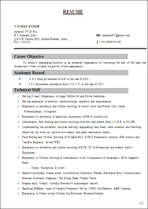 RESUME SAMPLE FOR I.T.I (Instrument mechanics) from N.C.V.T & Having 7 ...