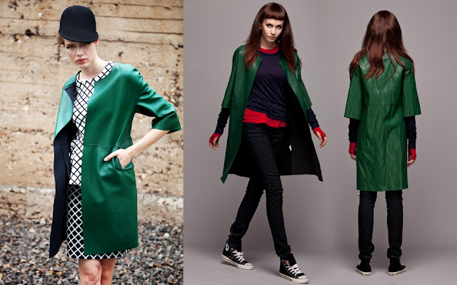 green faux leather coat