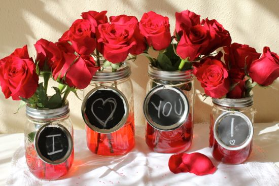 Valentine's Day Mason Jar Vases with Chalkboard Labels