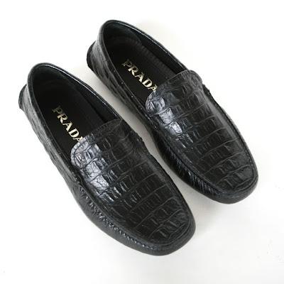 prada croc embossed driving loafers