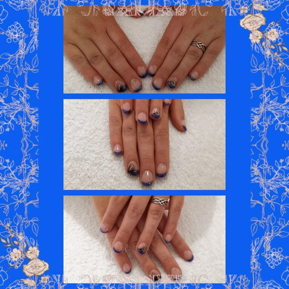 Shellac blue French and hand painted swan lilies French white sculpted