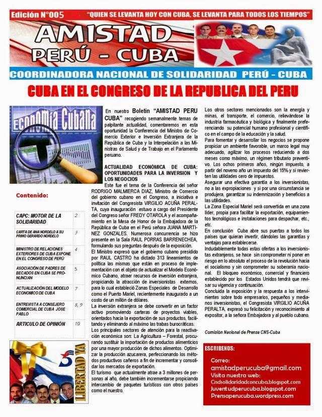 """BOLETÌN Nª005 """"AMISTAD PERÙ CUBA"""""""
