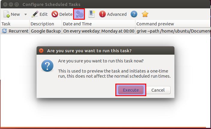 Gnome Schedule test task (Run) screenshot