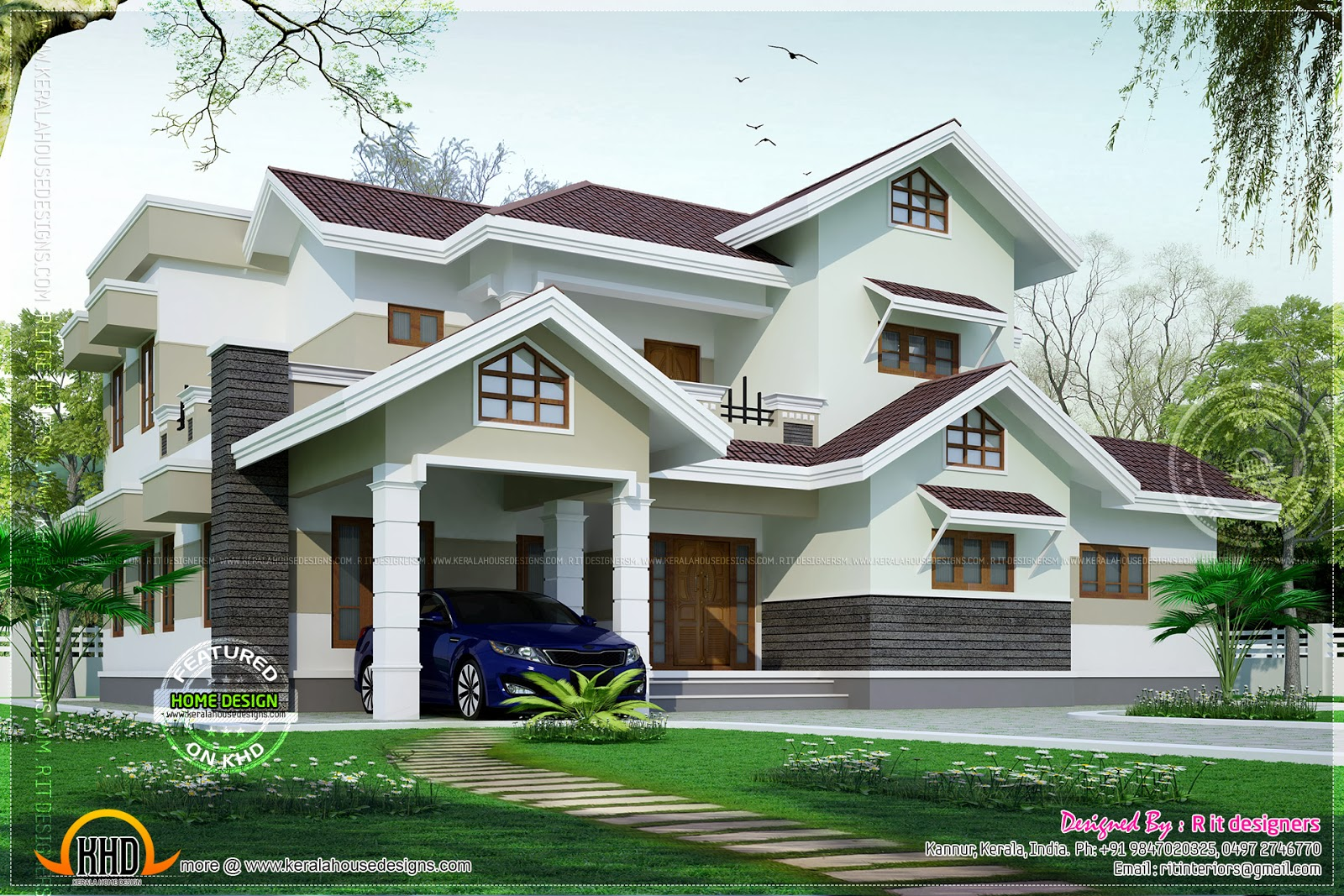no of bedrooms 4 average finishing cost 635 lakhs may change time to time design style modern sloping roof house details - Nice Home Designs