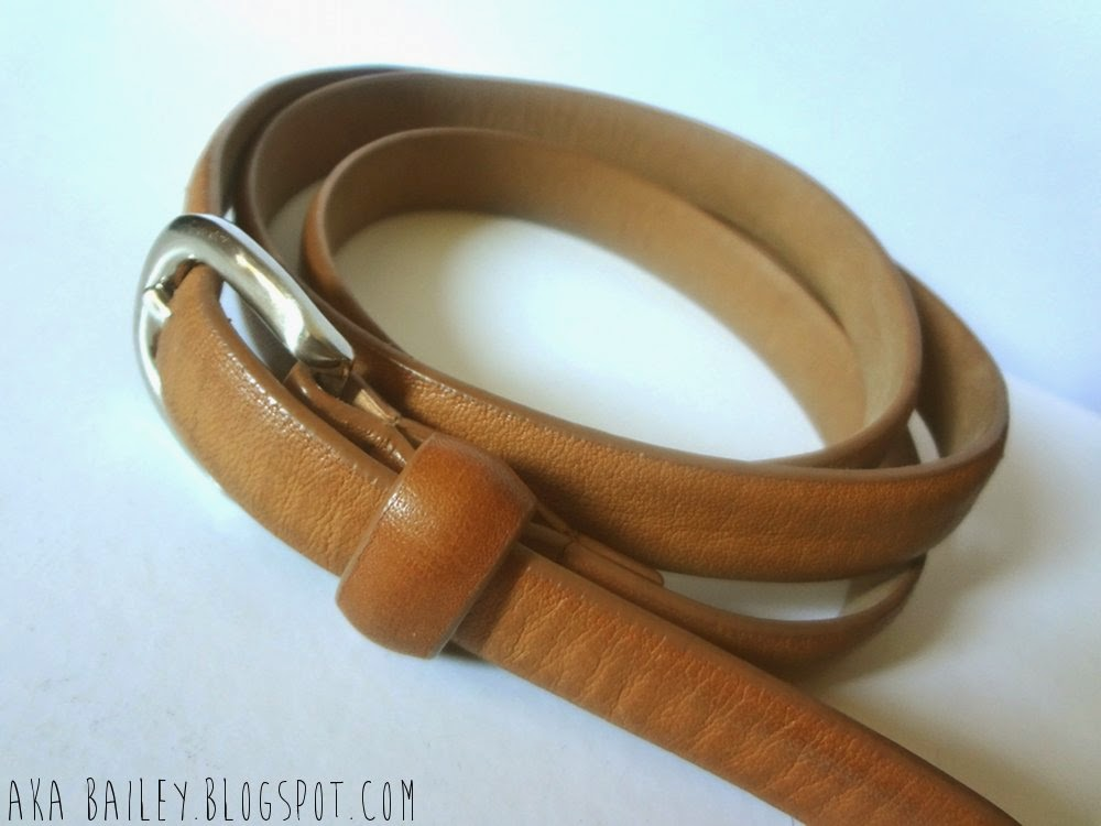 Thin brown belt from the local thrift shop