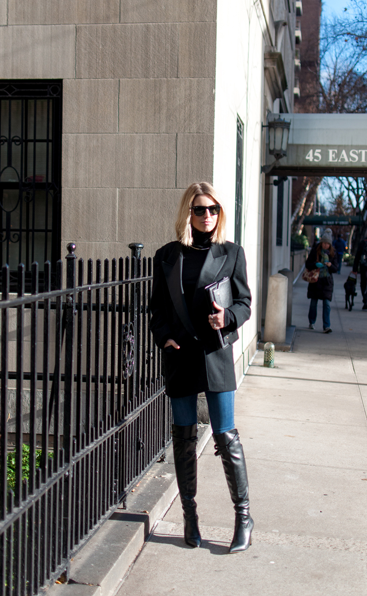 Vintage double breasted tuxedo jacket, Altuzarra x Target over the knee boots, Ray-Ban Wayfarers, Ann Taylor clutch