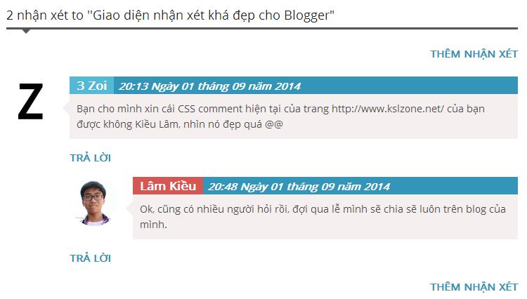 Chia sẻ giao diện nhận xét chuyên nghiệp của KslZone.NET