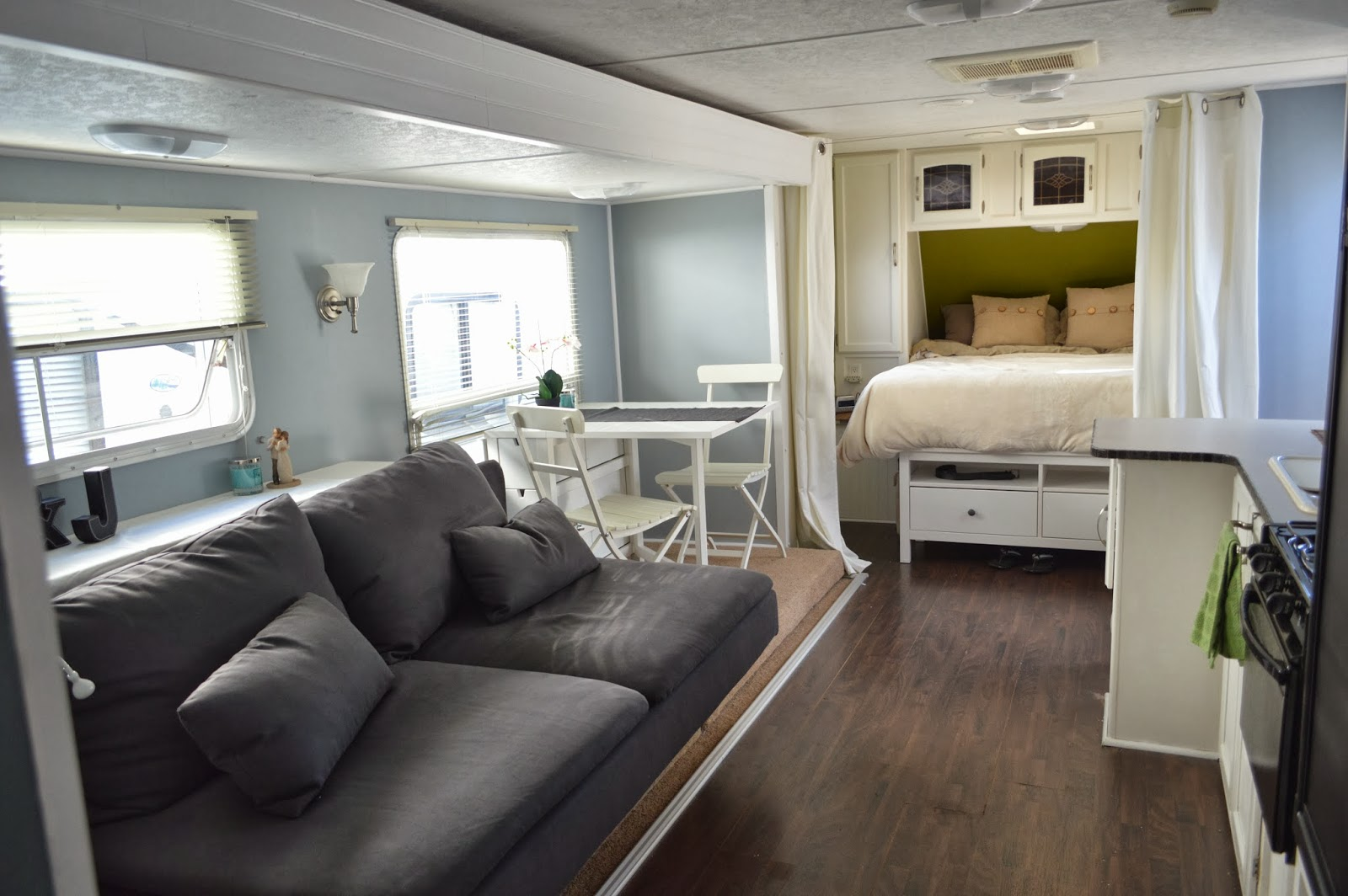Traveling triads travel trailer remodel reveal for Design caravan renovation ideas home