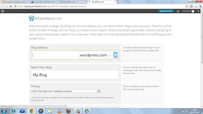 Provide information to create a Wordpress Blog