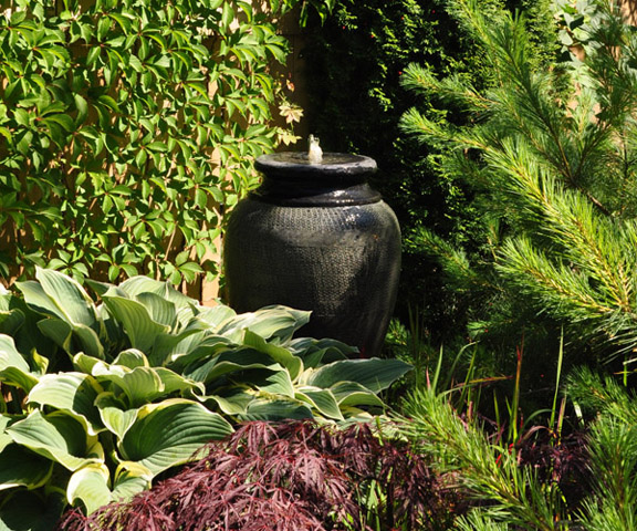 Backyard Water Features For Dogs : Three Dogs in a Garden Pin Ideas Small Water Features & Garden Ponds