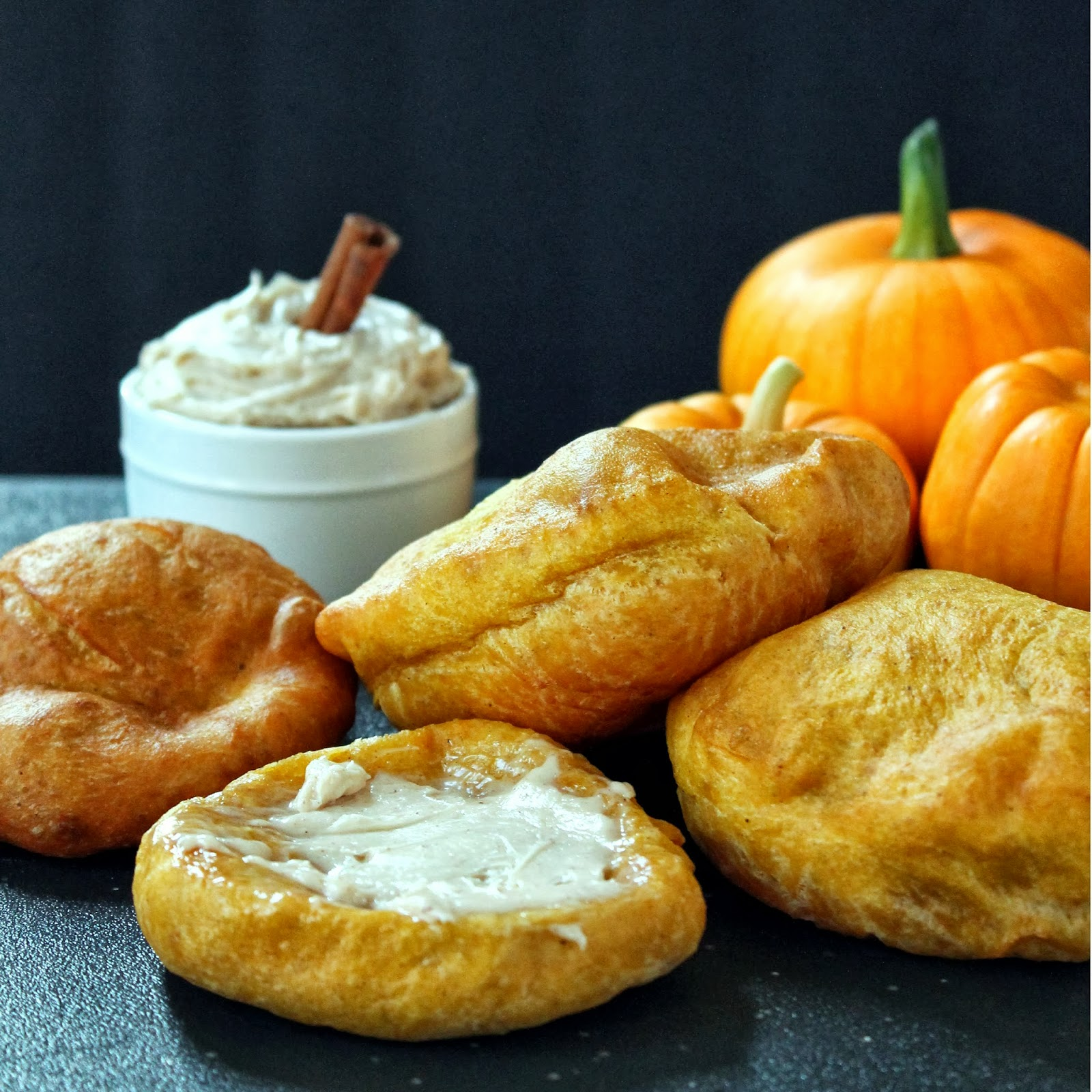 ... At Home Chef: Fried Pumpkin Scones with Cinnamon Cream Cheese Butter