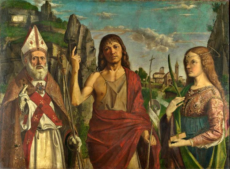 Bartolomeo Montagna - Saint Zeno, Saint John the Baptist and a Female Martyr