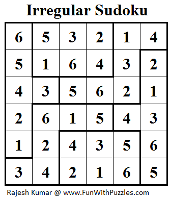Irregular Sudoku (Mini Sudoku Series #19) Solution