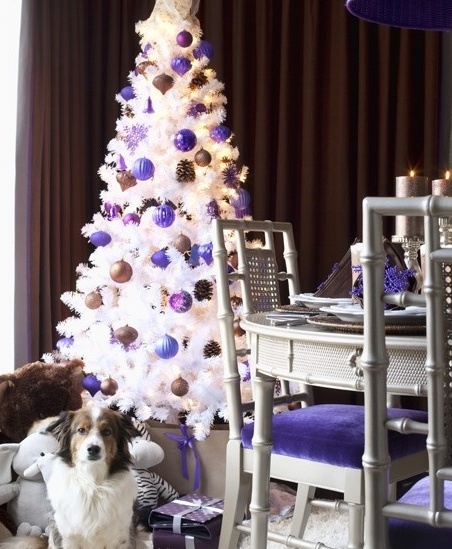 Christmas decoration ideas for white christmas trees - Is purple a christmas color ...