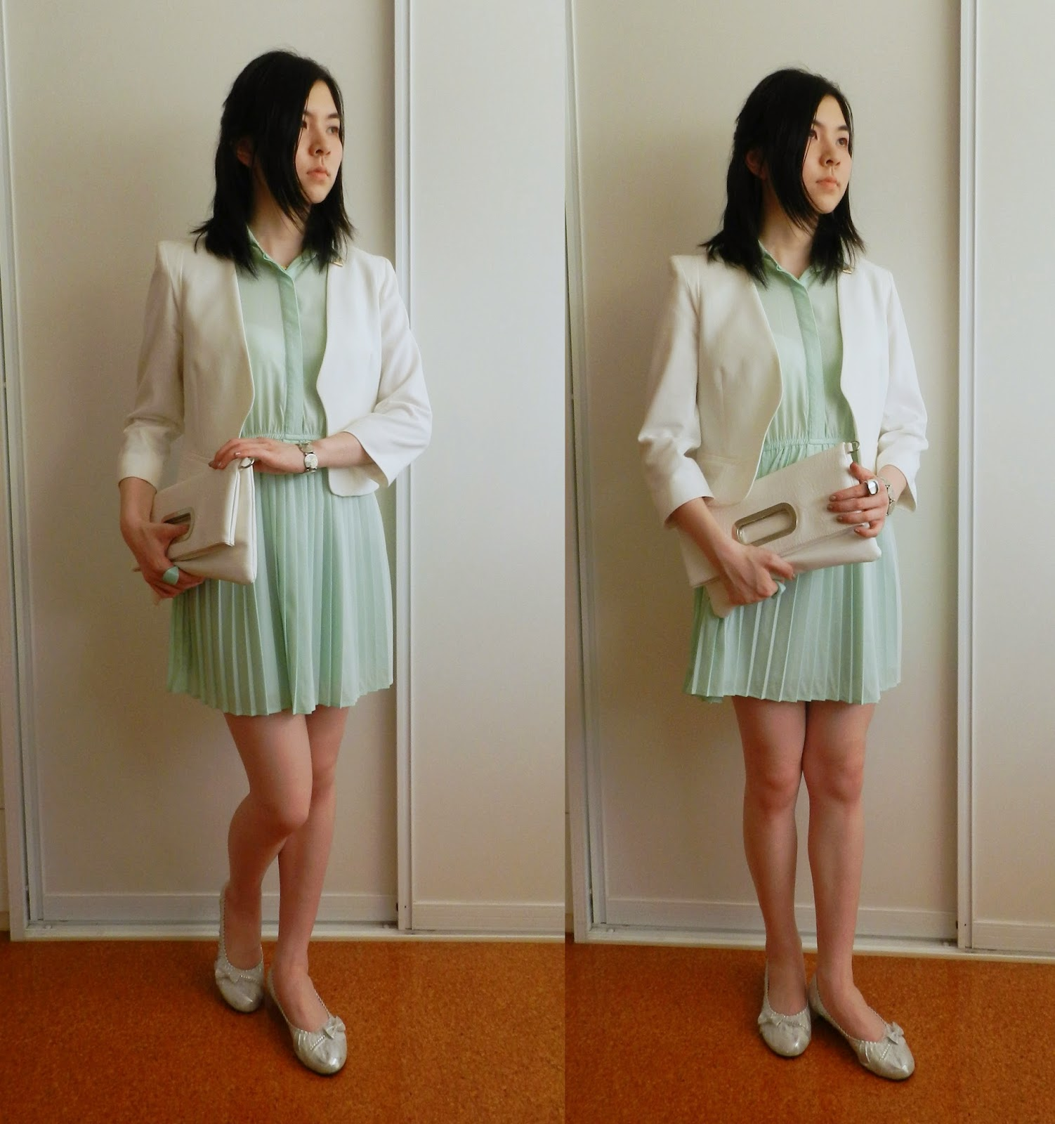 fashion, ootd, mint dress, silver flats, white leather clutch