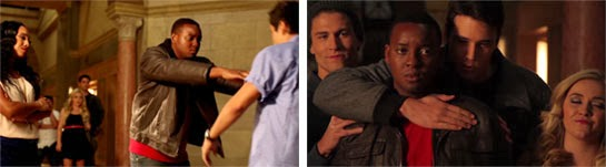 Chris pushes his friend who falls out of the shot and isn't seen again.  Brock and Derek give Chris some love.