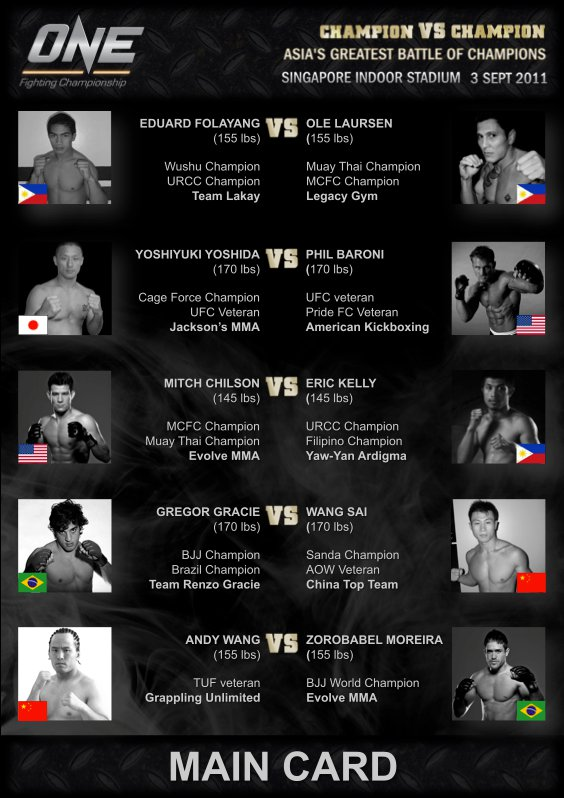 ONE FC 1: CHAMPION VS CHAMPION - 9/3/11 Fight Card in Singapore ...