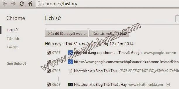 Bộ phím tắt trong google Chrome - hotkey chrome full