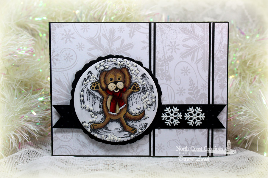 Stamps - North Coast Creations Snow Angel Murphy, ODBD Custom Pennants Die, ODBD Custom Zinnia and Leaves Die, ODBD Christmas Paper Collection 2013