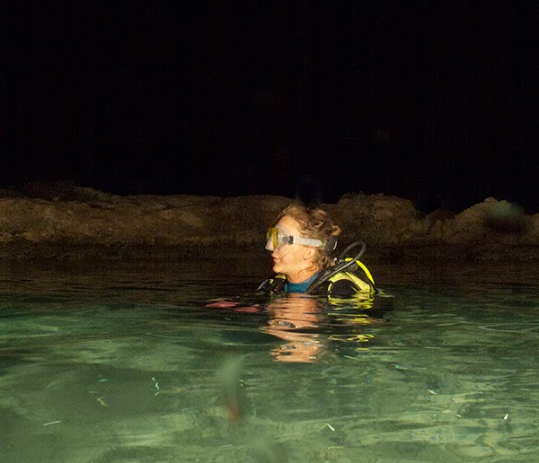 Scuba Diver waits to submerge beneath the sea in Protaras, Cyprus for a night dive