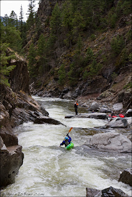Sasha Stauffer, paddling through Landslide on Cascade Creek aka 3rd Gorge Lime, Chris Baer, Animas, CO, Colorado