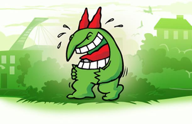 Le troll Juste pour rire contre le carré rouge