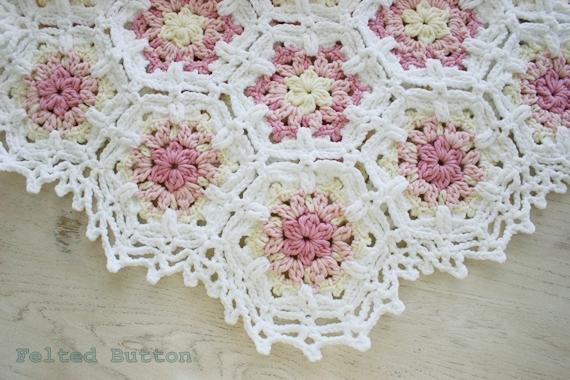 Felted Button Colorful Crochet Patterns Vintage Fleur Blanket