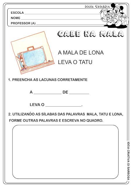 Atividade Alfabetização Projeto Cabe na Mala