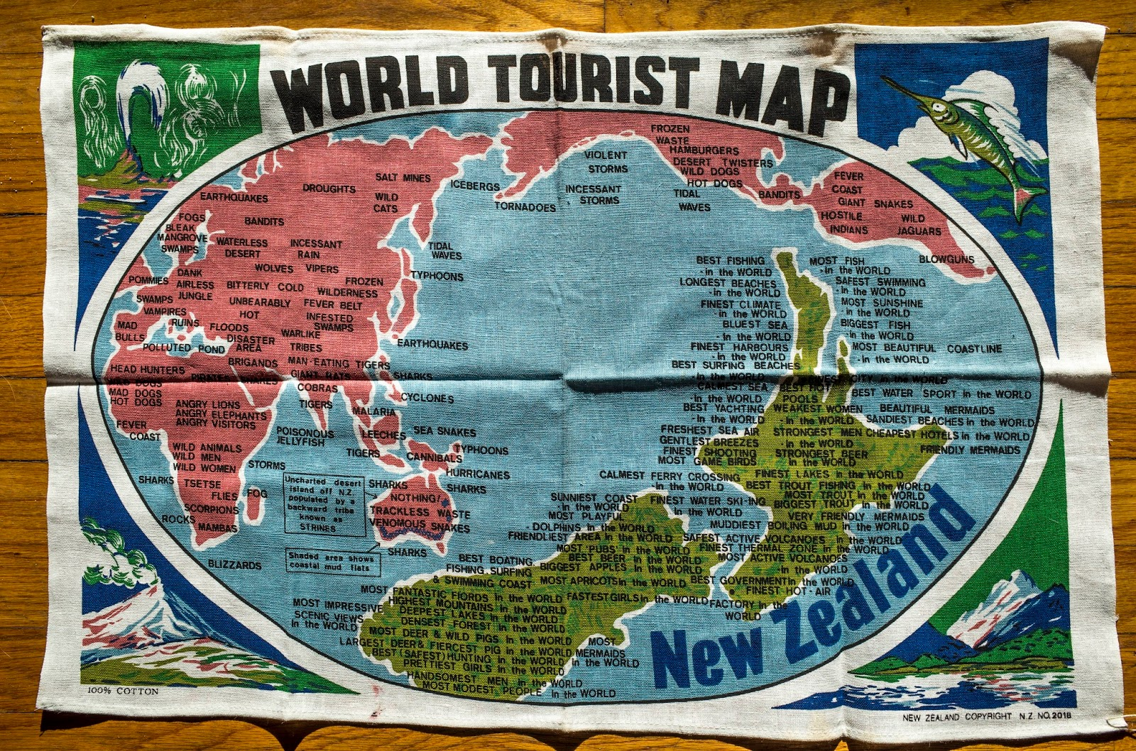World tourism map, New Zealand's perspective