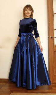 платье с юбкой солнце синего цвета