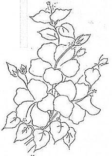 galho de hibiscos para pintar