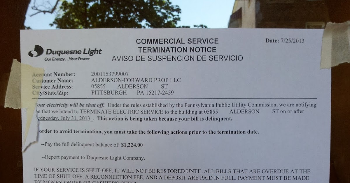 Leaking Bathroom Ceiling: Forward Management Pittsburgh Delinquent On Duquesne  Light Bill