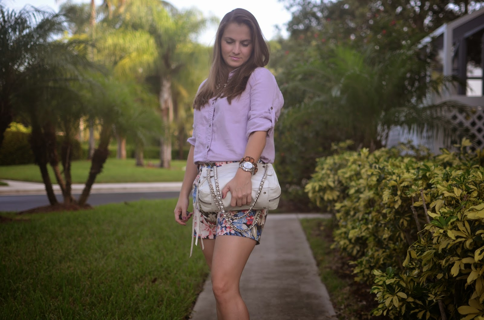 floral shorts - Emma & Sophia - linen top - Rebecca Minkoff - statement necklace